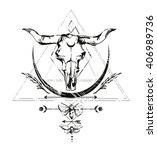 cow skull  boho style  sketch ...   Shutterstock .eps vector #406989736
