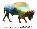 the bison on white background... | Shutterstock . vector #407006296