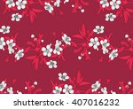 drawing vector cherry flowers... | Shutterstock .eps vector #407016232
