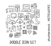 set of universal doodle icons.... | Shutterstock .eps vector #407016592