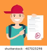 portrait of teenager showing... | Shutterstock .eps vector #407025298