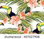 seamless summer tropical... | Shutterstock .eps vector #407027908