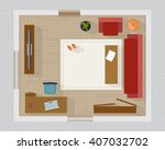 living room with furniture... | Shutterstock .eps vector #407032702