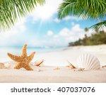 summer sandy beach with blur... | Shutterstock . vector #407037076