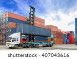 containers at the docks with... | Shutterstock . vector #407043616
