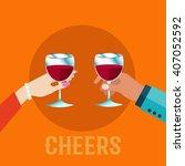 couple holding wine glasses ... | Shutterstock .eps vector #407052592