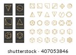 Collection of thin 30 black icons,6 trendy gold Logo.Linear design elements.Geometric icon,geometric pattern,geometric shape,label,monogram,hexagons,triangles,squares,circles.Vector.Isolated on white | Shutterstock vector #407053846