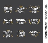 set of thank you labels ... | Shutterstock .eps vector #407054206