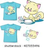 shirt printed   cute kitten... | Shutterstock .eps vector #407055496