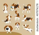 Stock vector the various operations of cute beagle 407076178