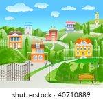 houses on hill. | Shutterstock .eps vector #40710889