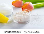 face cream and body lotion with ... | Shutterstock . vector #407112658