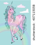 pink cartoon unicorn | Shutterstock .eps vector #407115058