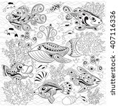 Hand drawn zentangle background with many fishes in the water. Sea life design for relax and meditation. Vector pattern black and white illustration can be used for coloring book for kids and adults.