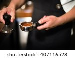 barista coffee brewing grind... | Shutterstock . vector #407116528