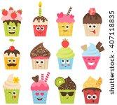 set of cupcake smileys | Shutterstock .eps vector #407118835