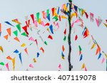 colorful bunting or triangle... | Shutterstock . vector #407119078