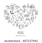 hand drawn doodle boxing icons... | Shutterstock .eps vector #407127442