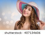 young beautiful woman with a... | Shutterstock . vector #407134606