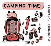 camping equipment outdoor... | Shutterstock .eps vector #407138965