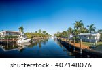 Fort Lauderdale at sunset, Florida. Canals and homes along the river.