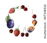 watercolor fruit and berry... | Shutterstock . vector #407148316