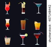 set of alcoholic cocktails... | Shutterstock .eps vector #407148442