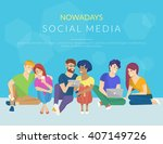 group of creative people using... | Shutterstock .eps vector #407149726