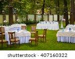 beautiful festive wedding table | Shutterstock . vector #407160322