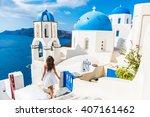 santorini travel tourist woman... | Shutterstock . vector #407161462
