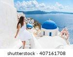 santorini travel tourist woman... | Shutterstock . vector #407161708