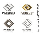 set of vector logos parquet ... | Shutterstock .eps vector #407193505
