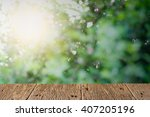 old wood plank with blurred... | Shutterstock . vector #407205196