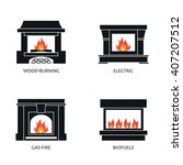 set of vector fireplace icons.... | Shutterstock .eps vector #407207512