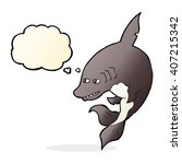 funny cartoon shark with... | Shutterstock .eps vector #407215342
