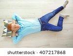 young man sleeping on the floor | Shutterstock . vector #407217868