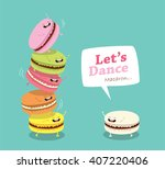 group of macarons. sweet funny... | Shutterstock .eps vector #407220406