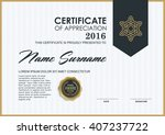 certificate template with clean ... | Shutterstock .eps vector #407237722