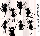 set of little fairy silhouettes | Shutterstock .eps vector #407238868