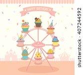vector fantasy cupcakes... | Shutterstock .eps vector #407244592