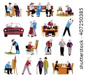 elderly people flat decorative... | Shutterstock .eps vector #407250385