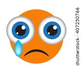 isolated orange crying emoticon.... | Shutterstock .eps vector #407250766