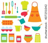 cute vector icons collection on ... | Shutterstock .eps vector #407251042