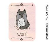 card with cartoon wolf on... | Shutterstock .eps vector #407254942