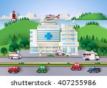 hospital building and emergency ... | Shutterstock .eps vector #407255986