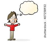 cartoon frightened man with... | Shutterstock .eps vector #407258932