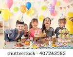 Happy Group Of Children Having...