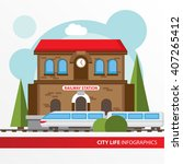 train station building icon in... | Shutterstock .eps vector #407265412
