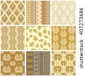 Big set of golden Victorian vintage wallpapers. Seamless floral patterns, geometric borders, damask ornaments, baroque elements. Italian, French, Chinese, Indian motifs.