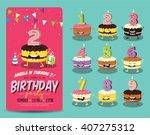 birthday anniversary numbers... | Shutterstock .eps vector #407275312